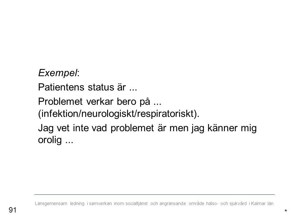 Länsgemensam ledning i samverkan inom socialtjänst och angränsande område hälso- och sjukvård i Kalmar län Exempel: Patientens status är...
