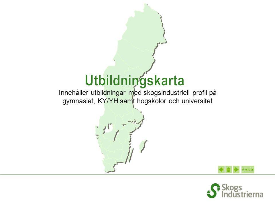 Avsluta Innehåller utbildningar med skogsindustriell profil på gymnasiet, KY/YH samt högskolor och universitet