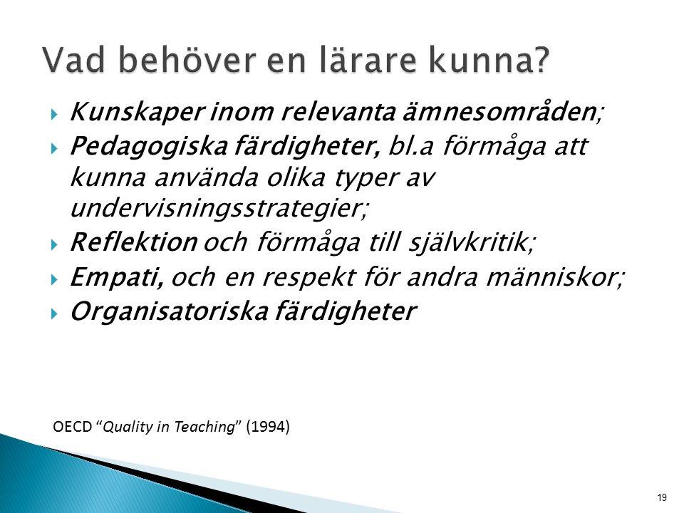  Kunskaper inom relevanta ämnesområden;  Pedagogiska färdigheter, bl.a förmåga att kunna använda olika typer av undervisningsstrategier;  Reflektion och förmåga till självkritik;  Empati, och en respekt för andra människor;  Organisatoriska färdigheter 19 OECD Quality in Teaching (1994)