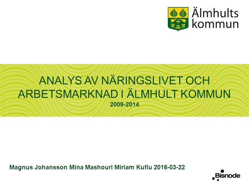 ANALYS AV NÄRINGSLIVET OCH ARBETSMARKNAD I ÄLMHULT KOMMUN 2009-2014 Magnus Johansson Mina Mashouri Miriam Kuflu 2016-03-22