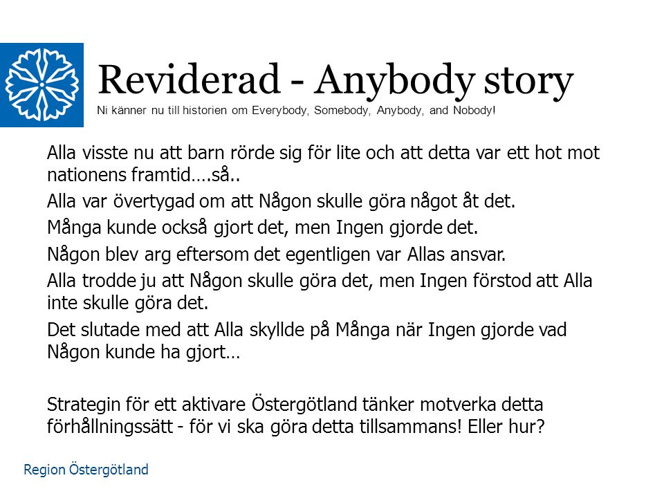 Region Östergötland Reviderad - Anybody story Ni känner nu till historien om Everybody, Somebody, Anybody, and Nobody.