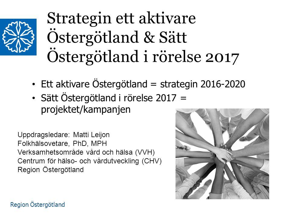 Region Östergötland Ett aktivare Östergötland; Där fler är regelbundet fysiskt aktiva och färre är stillasittande, men där också ojämlikheten i aktivitetsnivå mellan grupper minskar.