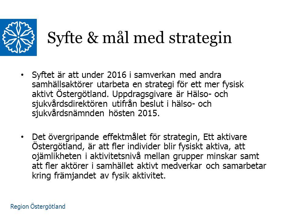 Region Östergötland Målet med uppdraget är att under hösten 2016 leverera en långsiktig strategi, som sträcker sig till 2020, för hur Östgötarna ska bli mer fysiskt aktiva som innehåller: En kunskapssamanställning om strategier för att främja fysisk aktivitet Förslag på områden och arenor där insatser kan och bör genomföras Förslag på insatser för projektet Sätt Östergötland i rörelse 2017 Strategin