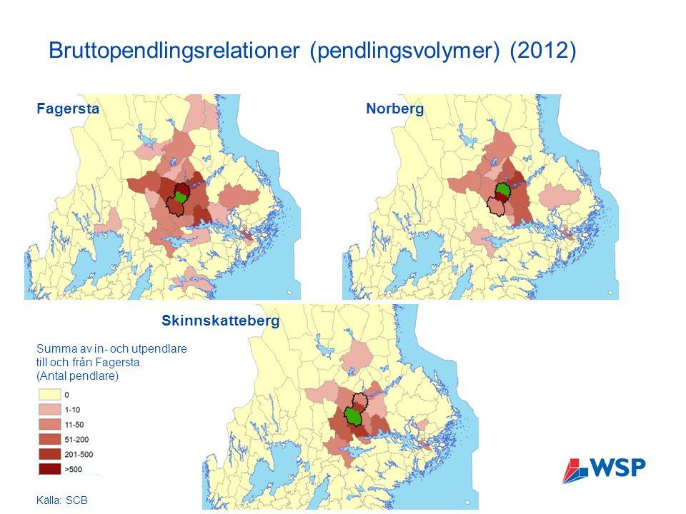Bruttopendlingsrelationer (pendlingsvolymer) (2012) Summa av in- och utpendlare till och från Fagersta.