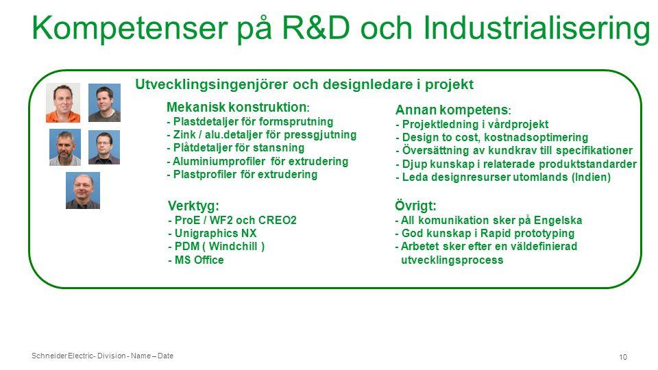 Schneider Electric- Division - Name – Date 10 Kompetenser på R&D och Industrialisering Utvecklingsingenjörer och designledare i projekt Mekanisk konstruktion : - Plastdetaljer för formsprutning - Zink / alu.detaljer för pressgjutning - Plåtdetaljer för stansning - Aluminiumprofiler för extrudering - Plastprofiler för extrudering Annan kompetens : - Projektledning i vårdprojekt - Design to cost, kostnadsoptimering - Översättning av kundkrav till specifikationer - Djup kunskap i relaterade produktstandarder - Leda designresurser utomlands (Indien) Verktyg: - ProE / WF2 och CREO2 - Unigraphics NX - PDM ( Windchill ) - MS Office Övrigt: - All komunikation sker på Engelska - God kunskap i Rapid prototyping - Arbetet sker efter en väldefinierad utvecklingsprocess