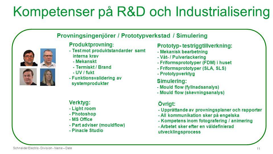 Schneider Electric- Division - Name – Date 11 Provningsingenjörer / Prototypverkstad / Simulering Produktprovning : - Test mot produktstandarder samt interna krav - Mekanskt - Termiskt / Brand - UV / fukt - Funktionsvalidering av systemprodukter Prototyp- testriggtillverkning: - Mekanisk bearbetning - Våt- / Pulverlackering - Friformsprototyper (FDM) i huset - Friformsprototyper (SLA, SLS) - Prototypverktyg Verktyg: - Light room - Photoshop - MS Office - Part adviser (mouldflow) - Pinacle Studio Övrigt: - Upprättande av provningsplaner och rapporter - All kommunikation sker på engelska - Kompetens inom fotografering / animering - Arbetet sker efter en väldefinierad utvecklingsprocess Simulering: - Mould flow (fyllnadsanalys) - Mould flow (skevningsanalys) Kompetenser på R&D och Industrialisering