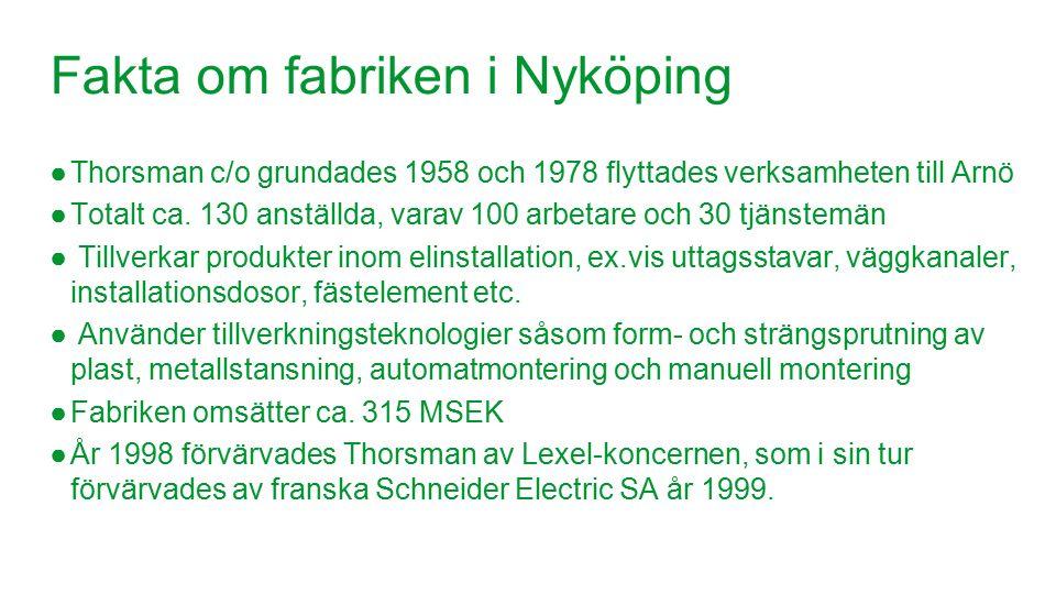 Schneider Electric 16 - Division - Name – Date Fakta om fabriken i Nyköping ●Thorsman c/o grundades 1958 och 1978 flyttades verksamheten till Arnö ●Totalt ca.