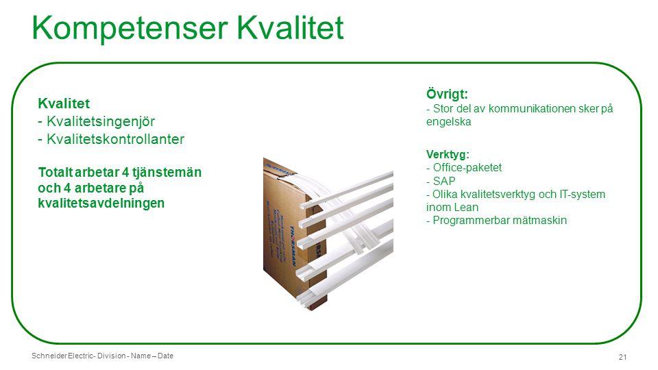 Schneider Electric- Division - Name – Date 21 Kompetenser Kvalitet Kvalitet - Kvalitetsingenjör - Kvalitetskontrollanter Totalt arbetar 4 tjänstemän och 4 arbetare på kvalitetsavdelningen Övrigt: - Stor del av kommunikationen sker på engelska Verktyg: - Office-paketet - SAP - Olika kvalitetsverktyg och IT-system inom Lean - Programmerbar mätmaskin