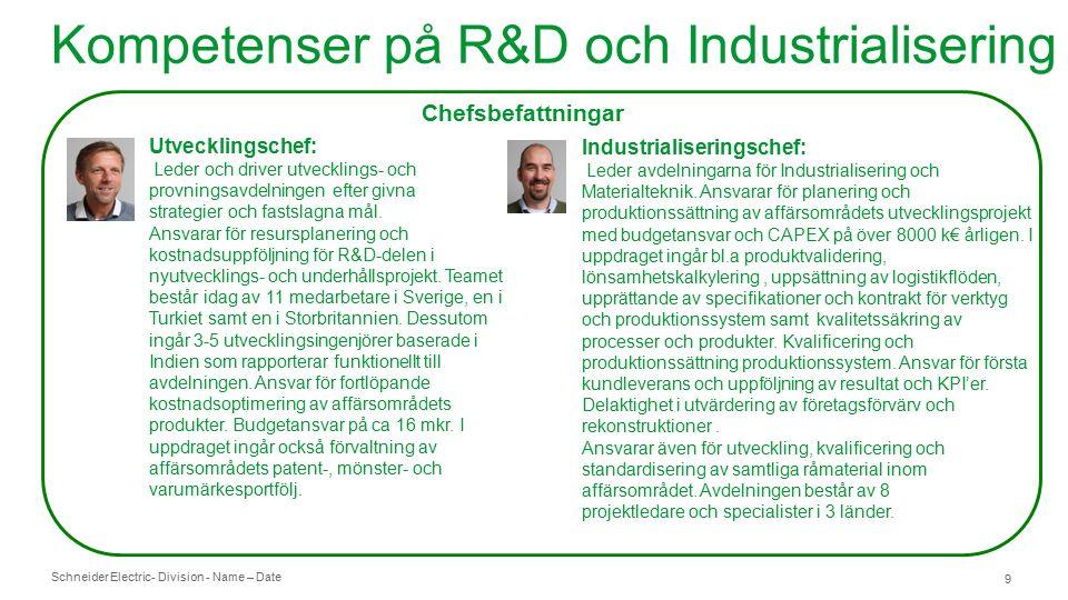 Schneider Electric- Division - Name – Date 9 Kompetenser på R&D och Industrialisering Chefsbefattningar Utvecklingschef: Leder och driver utvecklings- och provningsavdelningen efter givna strategier och fastslagna mål.