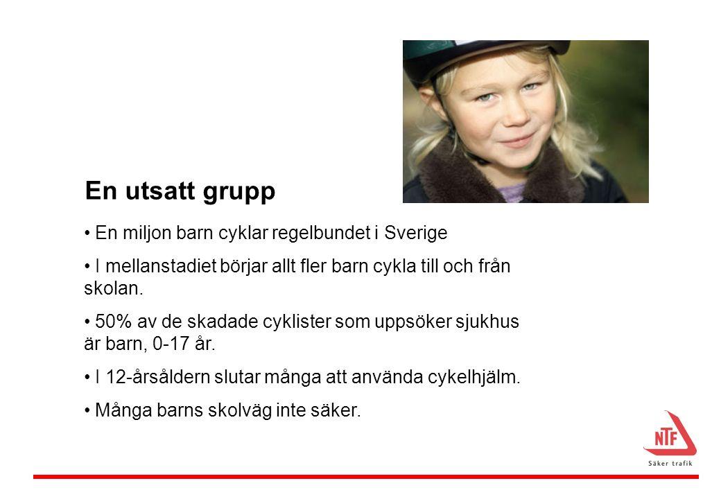 En utsatt grupp En miljon barn cyklar regelbundet i Sverige I mellanstadiet börjar allt fler barn cykla till och från skolan.