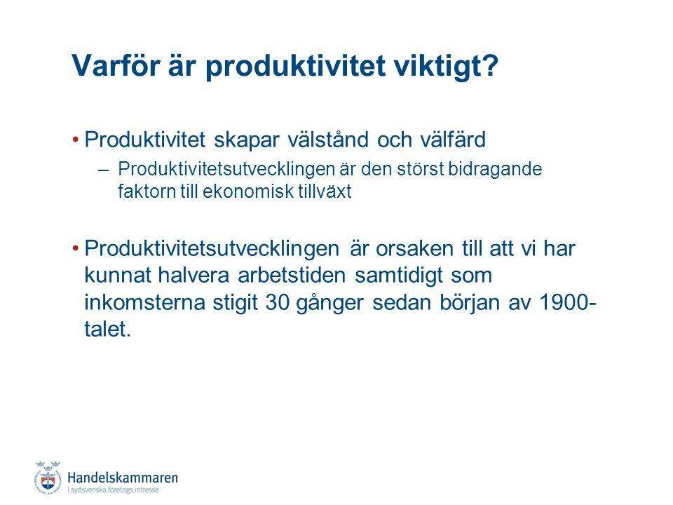 Produktivitet skapar välstånd och välfärd –Produktivitetsutvecklingen är den störst bidragande faktorn till ekonomisk tillväxt Produktivitetsutvecklingen är orsaken till att vi har kunnat halvera arbetstiden samtidigt som inkomsterna stigit 30 gånger sedan början av 1900- talet.