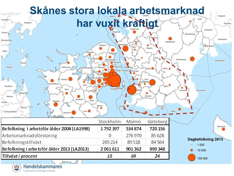 Strategisk placering vid porten till Nordeuropa Tillhör Nordens största region Hög tillgänglighet och korta avstånd inom regionen Hög internationell tillgänglighet Ung, varierad befolkning som växer Hög utbildningsnivå Skånes förutsättningar är goda