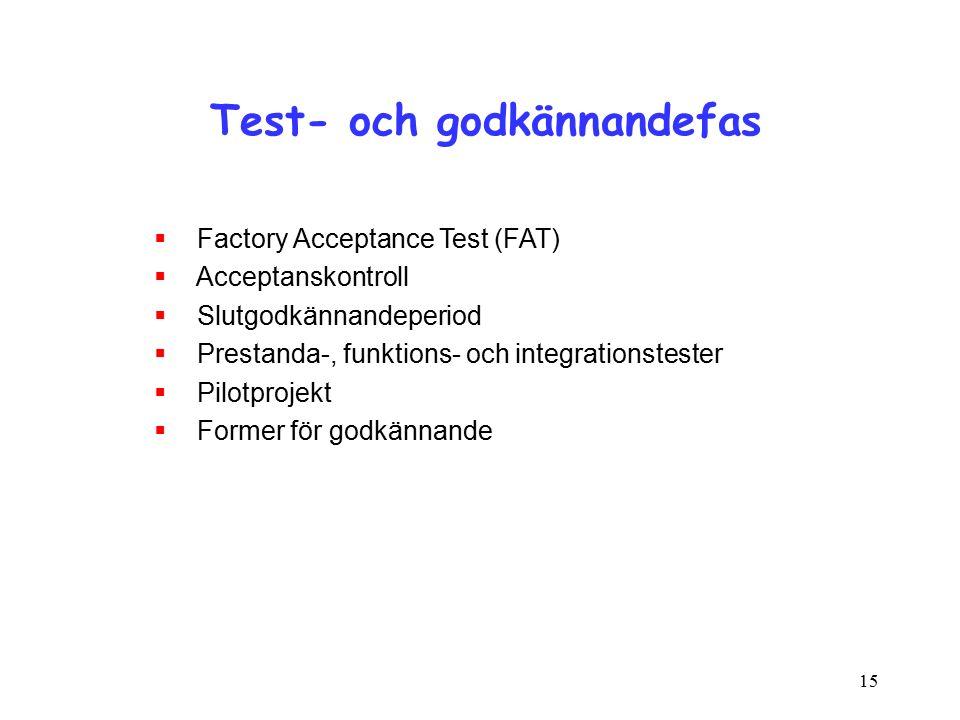 15 Test- och godkännandefas  Factory Acceptance Test (FAT)  Acceptanskontroll  Slutgodkännandeperiod  Prestanda-, funktions- och integrationstester  Pilotprojekt  Former för godkännande