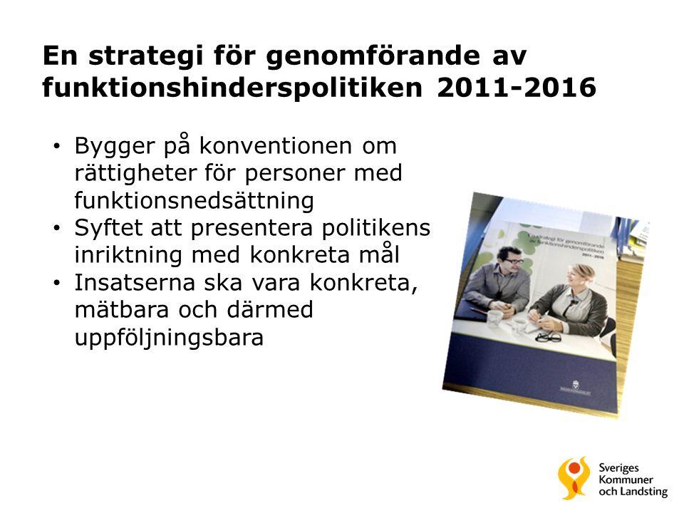 En strategi för genomförande av funktionshinderspolitiken 2011-2016 Bygger på konventionen om rättigheter för personer med funktionsnedsättning Syftet