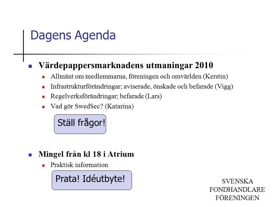SVENSKA FONDHANDLARE FÖRENINGEN Dagens Agenda Värdepappersmarknadens utmaningar 2010 Allmänt om medlemmarna, föreningen och omvärlden (Kerstin) Infrastrukturförändringar; aviserade, önskade och befarade (Vigg) Regelverksförändringar; befarade (Lars) Vad gör SwedSec.