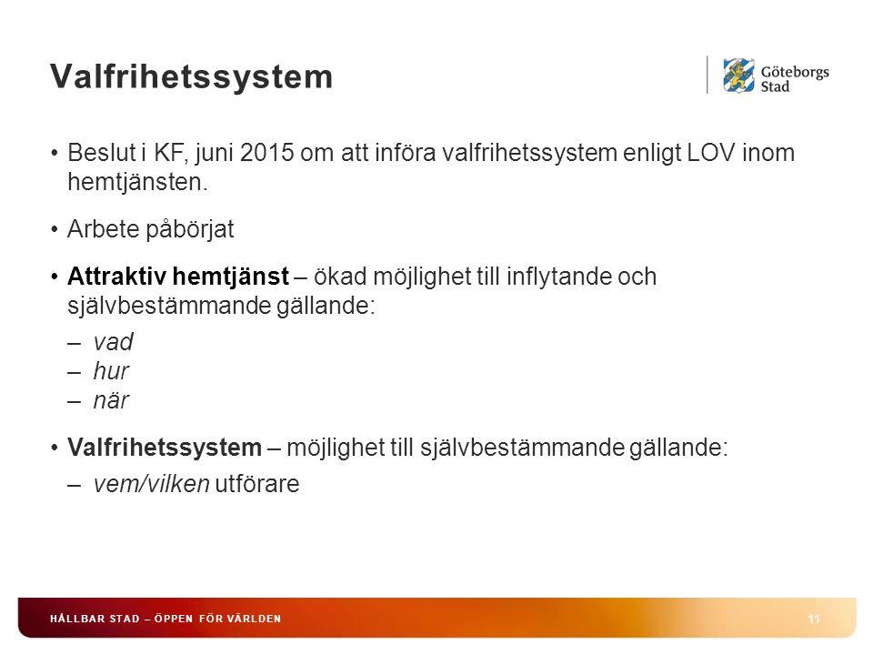 Valfrihetssystem 11 HÅLLBAR STAD – ÖPPEN FÖR VÄRLDEN Beslut i KF, juni 2015 om att införa valfrihetssystem enligt LOV inom hemtjänsten.