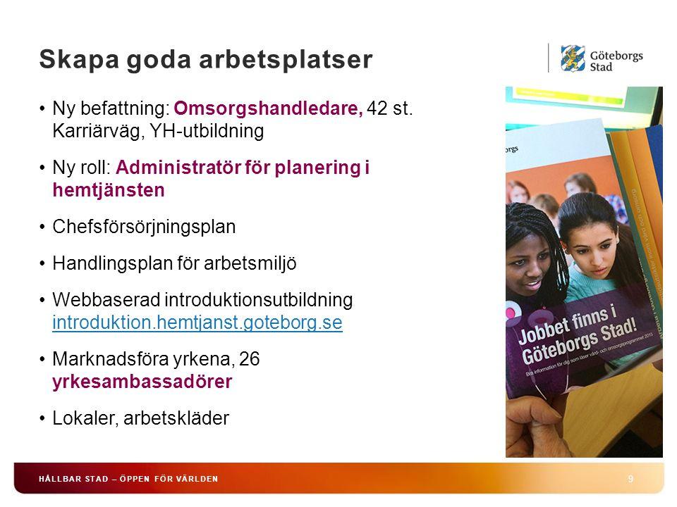 Skapa goda arbetsplatser 9 HÅLLBAR STAD – ÖPPEN FÖR VÄRLDEN Ny befattning: Omsorgshandledare, 42 st.