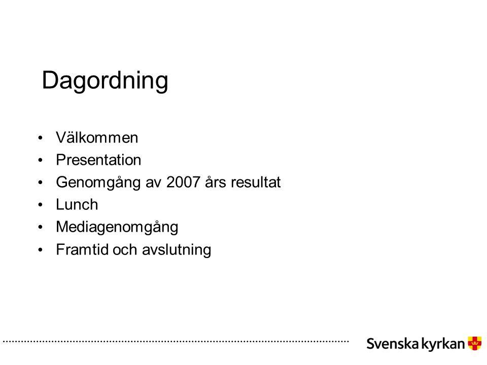 Dagordning Välkommen Presentation Genomgång av 2007 års resultat Lunch Mediagenomgång Framtid och avslutning