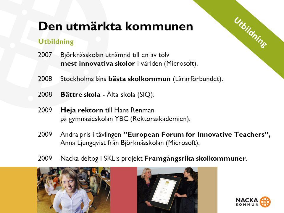 Den utmärkta kommunen Utbildning 2007Björknässkolan utnämnd till en av tolv mest innovativa skolor i världen (Microsoft).