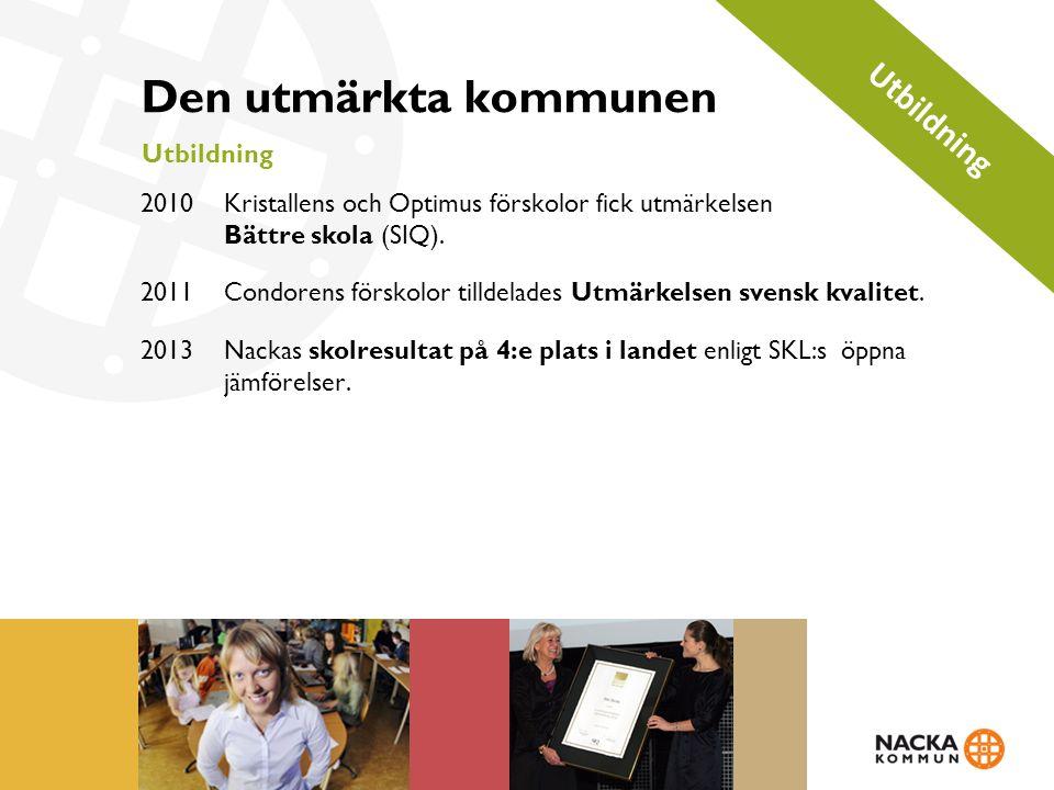 Den utmärkta kommunen Utbildning 2010 Kristallens och Optimus förskolor fick utmärkelsen Bättre skola (SIQ).