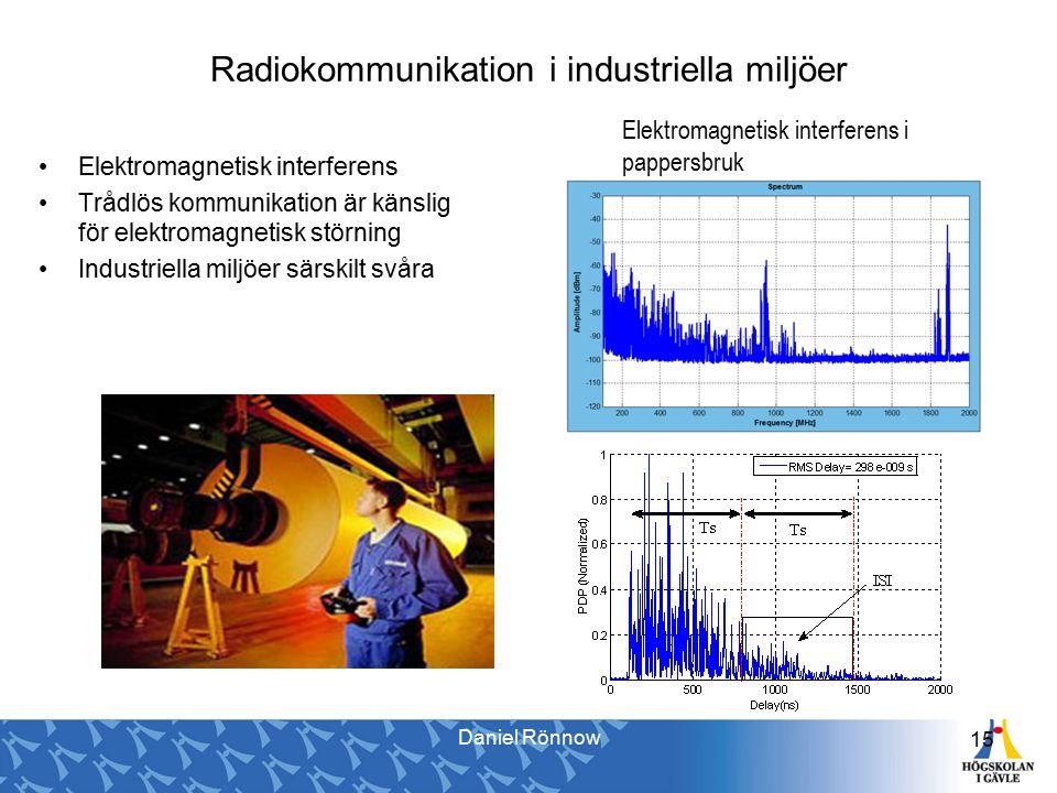 Radiokommunikation i industriella miljöer 15 Elektromagnetisk interferens Trådlös kommunikation är känslig för elektromagnetisk störning Industriella miljöer särskilt svåra Elektromagnetisk interferens i pappersbruk Daniel Rönnow