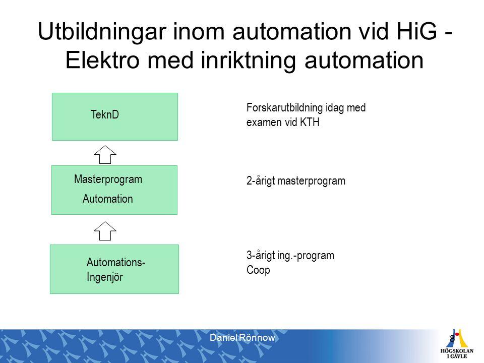Utbildningar inom automation vid HiG - Elektro med inriktning automation 8 Automations- Ingenjör Automation TeknD Masterprogram 3-årigt ing.-program Coop 2-årigt masterprogram Forskarutbildning idag med examen vid KTH Daniel Rönnow