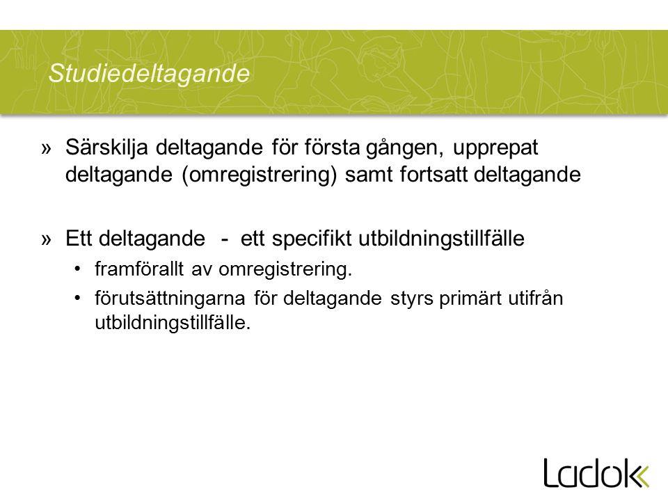 Studiedeltagande »Särskilja deltagande för första gången, upprepat deltagande (omregistrering) samt fortsatt deltagande »Ett deltagande - ett specifik