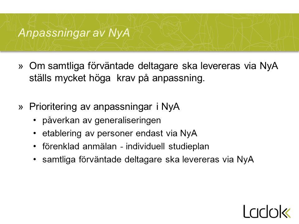Anpassningar av NyA »Om samtliga förväntade deltagare ska levereras via NyA ställs mycket höga krav på anpassning. »Prioritering av anpassningar i NyA