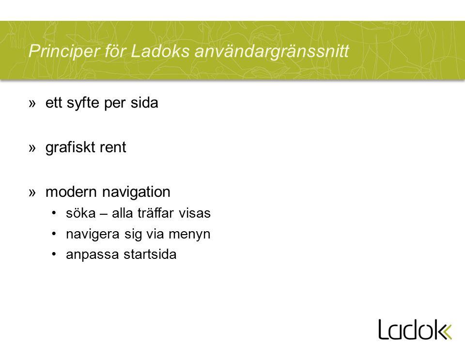 Principer för Ladoks användargränssnitt »ett syfte per sida »grafiskt rent »modern navigation söka – alla träffar visas navigera sig via menyn anpassa