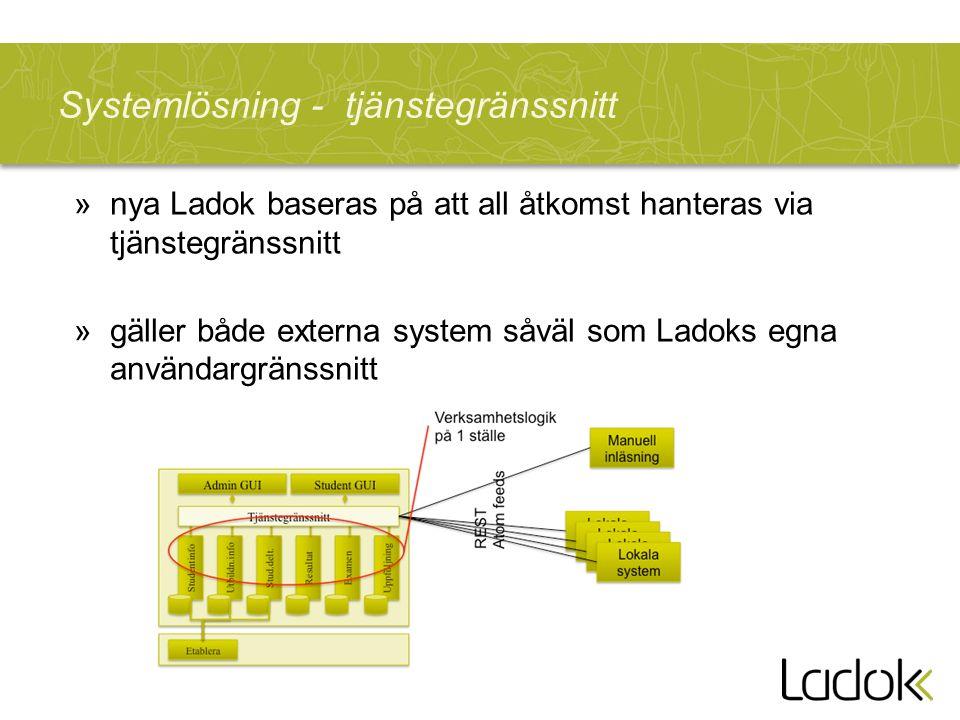 Systemlösning - tjänstegränssnitt »nya Ladok baseras på att all åtkomst hanteras via tjänstegränssnitt »gäller både externa system såväl som Ladoks egna användargränssnitt