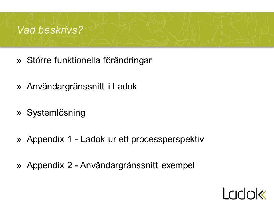 Vad beskrivs? »Större funktionella förändringar »Användargränssnitt i Ladok »Systemlösning »Appendix 1 - Ladok ur ett processperspektiv »Appendix 2 -
