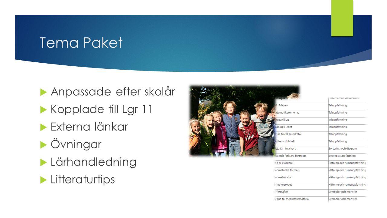 Tema Paket  Anpassade efter skolår  Kopplade till Lgr 11  Externa länkar  Övningar  Lärhandledning  Litteraturtips