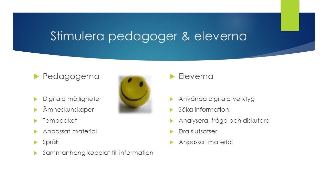 Stimulera pedagoger & eleverna  Pedagogerna  Digitala möjligheter  Ämneskunskaper  Temapaket  Anpassat material  Språk  Sammanhang kopplat till