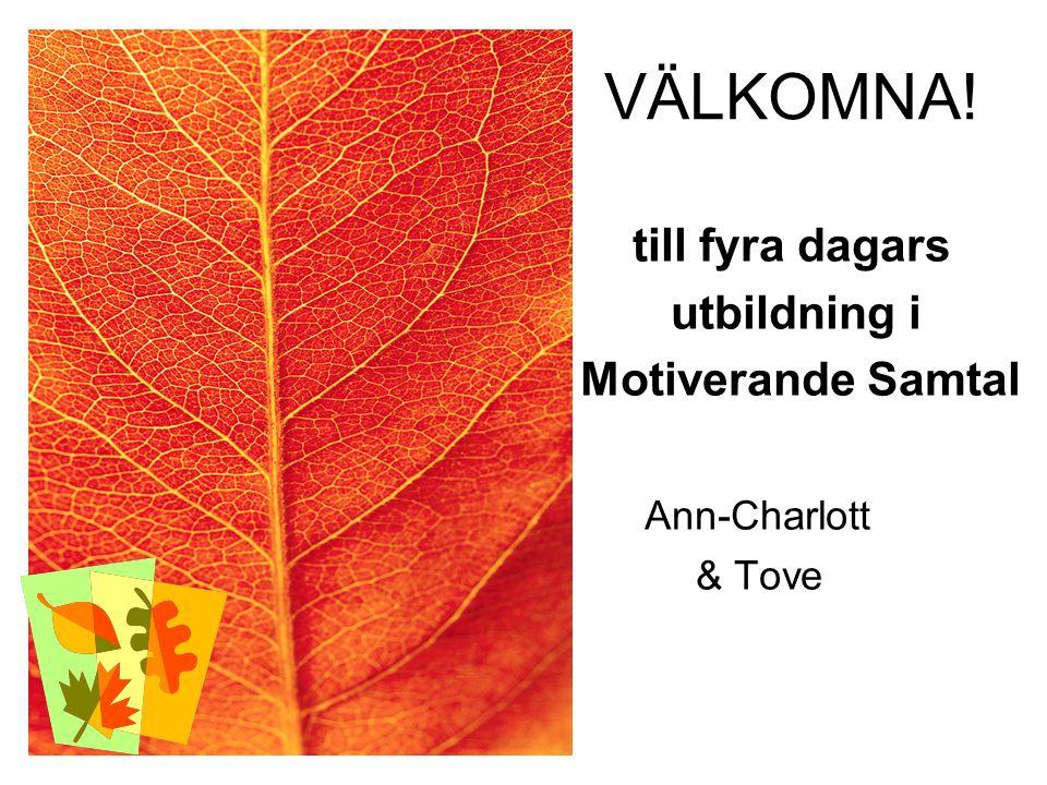 VÄLKOMNA! till fyra dagars utbildning i Motiverande Samtal Ann-Charlott & Tove