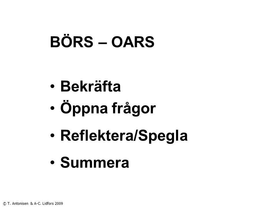 BÖRS – OARS Bekräfta Öppna frågor Reflektera/Spegla Summera © T. Antonisen & A-C. Lidfors 2009