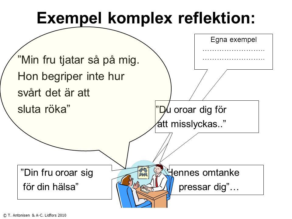Egna exempel …………………….. Exempel komplex reflektion: Min fru tjatar så på mig.