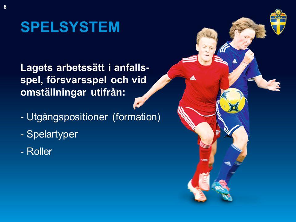 SPELSYSTEM Lagets arbetssätt i anfalls- spel, försvarsspel och vid omställningar utifrån: - Utgångspositioner (formation) - Spelartyper - Roller 5