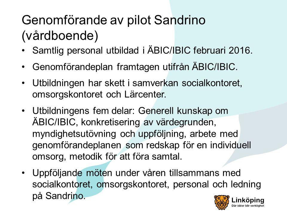 Genomförande av pilot Sandrino (vårdboende) Samtlig personal utbildad i ÄBIC/IBIC februari 2016.