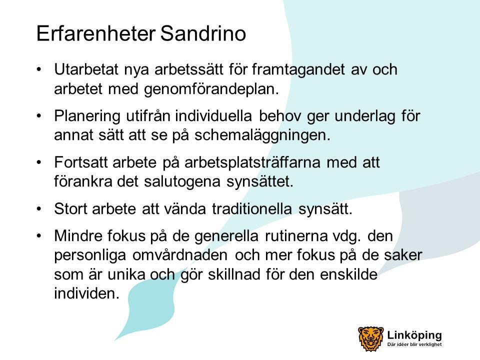 Erfarenheter Sandrino Utarbetat nya arbetssätt för framtagandet av och arbetet med genomförandeplan.