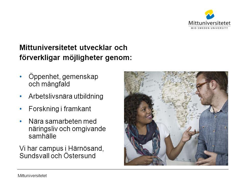 Mittuniversitetet Mittuniversitetet utvecklar och förverkligar möjligheter genom: Öppenhet, gemenskap och mångfald Arbetslivsnära utbildning Forskning i framkant Nära samarbeten med näringsliv och omgivande samhälle Vi har campus i Härnösand, Sundsvall och Östersund