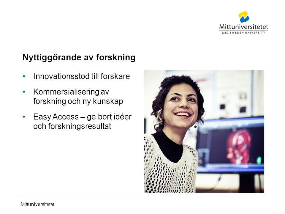 Mittuniversitetet Nyttiggörande av forskning Innovationsstöd till forskare Kommersialisering av forskning och ny kunskap Easy Access – ge bort idéer och forskningsresultat