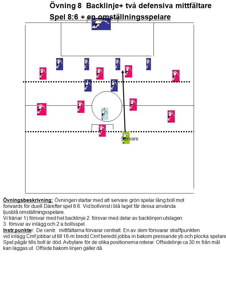 Spel 8:6 + en omställningsspelare Servare Övningsbeskrivning: Övningen startar med att servare grön spelar lång boll mot forwards för duell.Därefter spel 8:6.