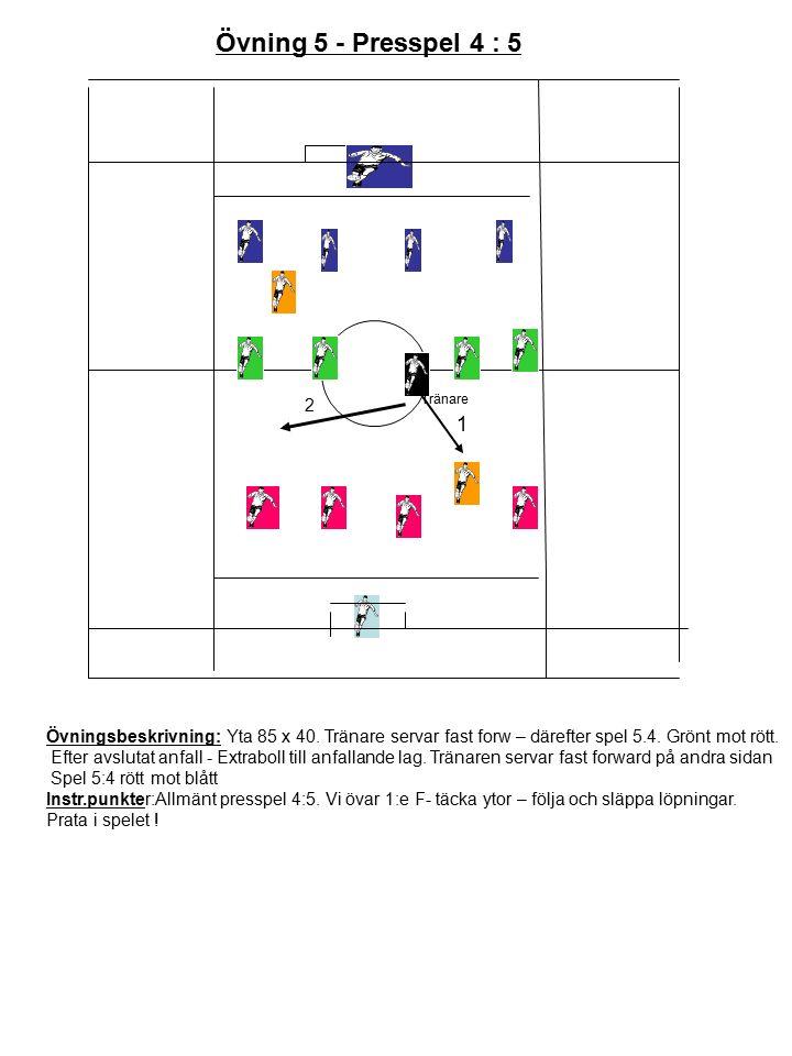 Övningsbeskrivning: Yta 85 x 40. Tränare servar fast forw – därefter spel 5.4.