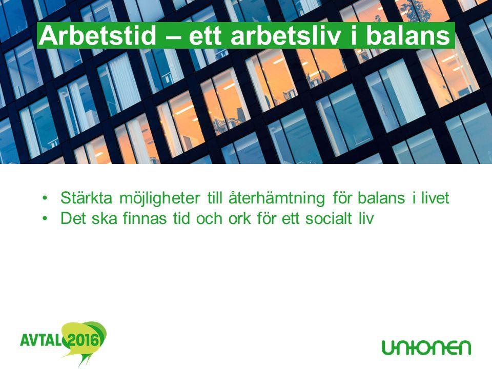 Arbetstid – ett arbetsliv i balans Stärkta möjligheter till återhämtning för balans i livet Det ska finnas tid och ork för ett socialt liv