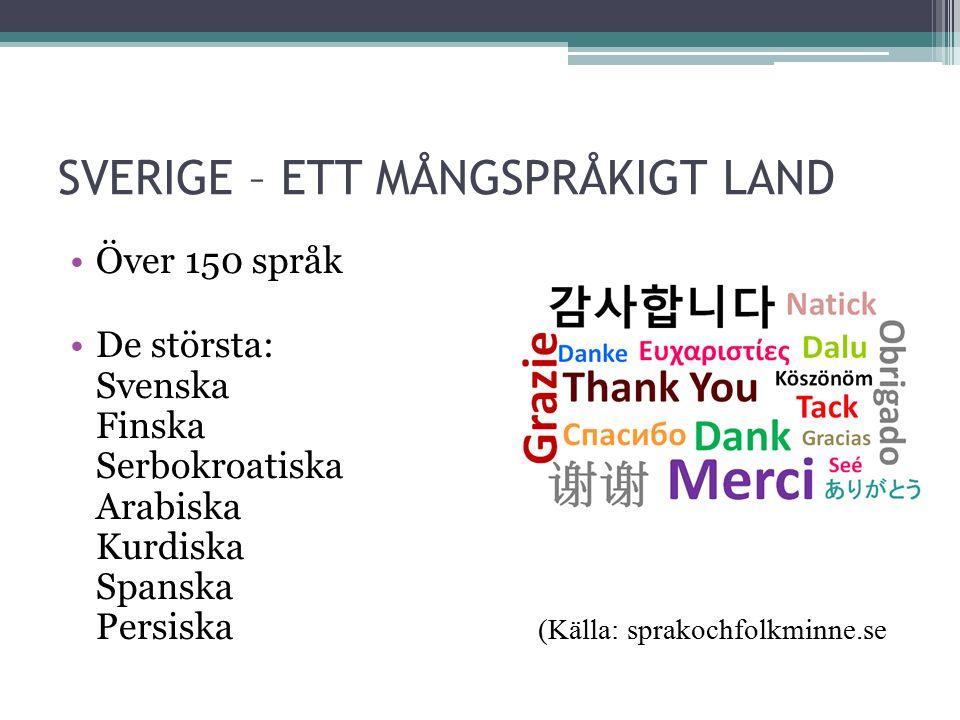 SVERIGE – ETT MÅNGSPRÅKIGT LAND Över 150 språk De största: Svenska Finska Serbokroatiska Arabiska Kurdiska Spanska Persiska (Källa: sprakochfolkminne.se