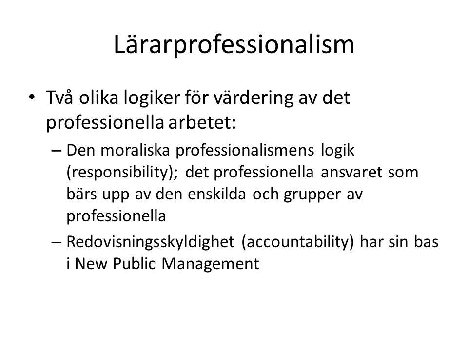 Lärarprofessionalism Två olika logiker för värdering av det professionella arbetet: – Den moraliska professionalismens logik (responsibility); det pro