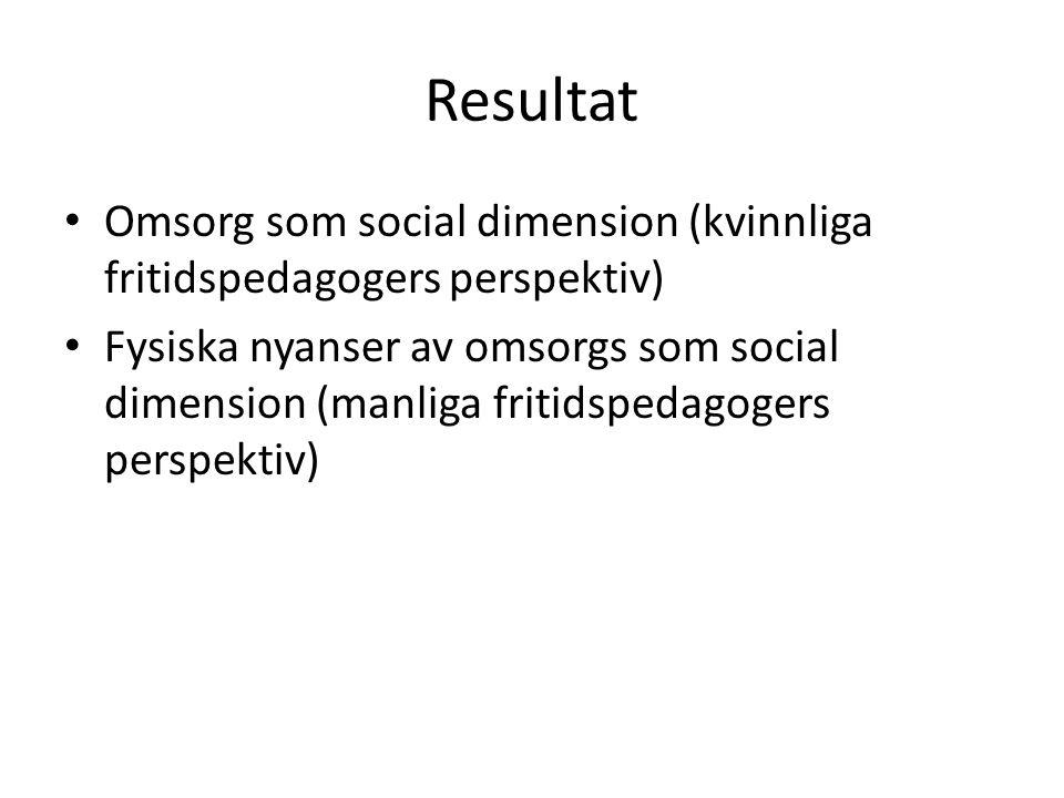 Resultat Omsorg som social dimension (kvinnliga fritidspedagogers perspektiv) Fysiska nyanser av omsorgs som social dimension (manliga fritidspedagoge
