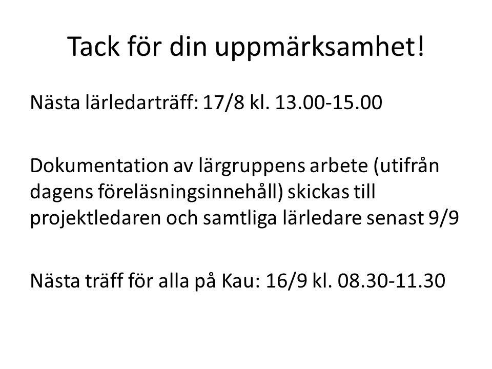 Tack för din uppmärksamhet! Nästa lärledarträff: 17/8 kl. 13.00-15.00 Dokumentation av lärgruppens arbete (utifrån dagens föreläsningsinnehåll) skicka