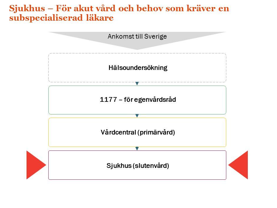 Sjukhus – För akut vård och behov som kräver en subspecialiserad läkare Hälsoundersökning Ankomst till Sverige 1177 – för egenvårdsråd Vårdcentral (primärvård) Sjukhus (slutenvård)