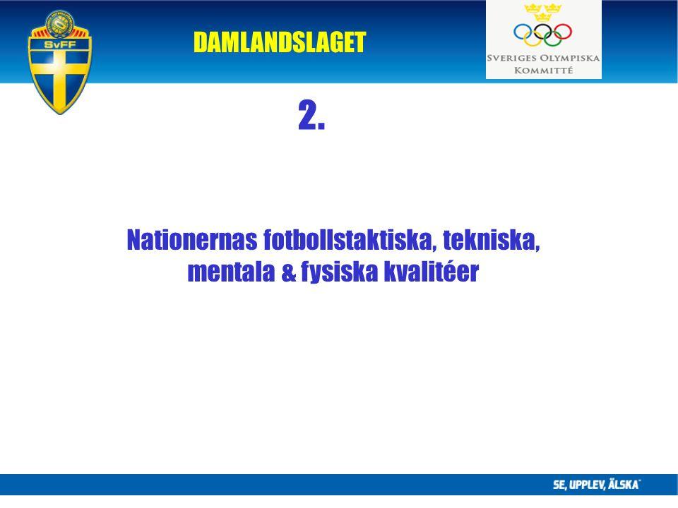 DAMLANDSLAGET Nationernas fotbollstaktiska, tekniska, mentala & fysiska kvalitéer 2.
